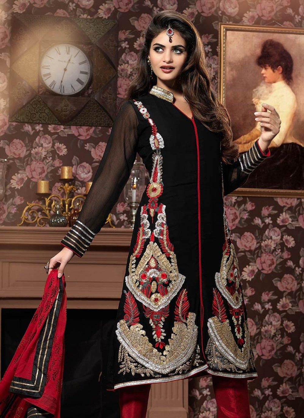 Alluring Black Georgette Churidar Suit
