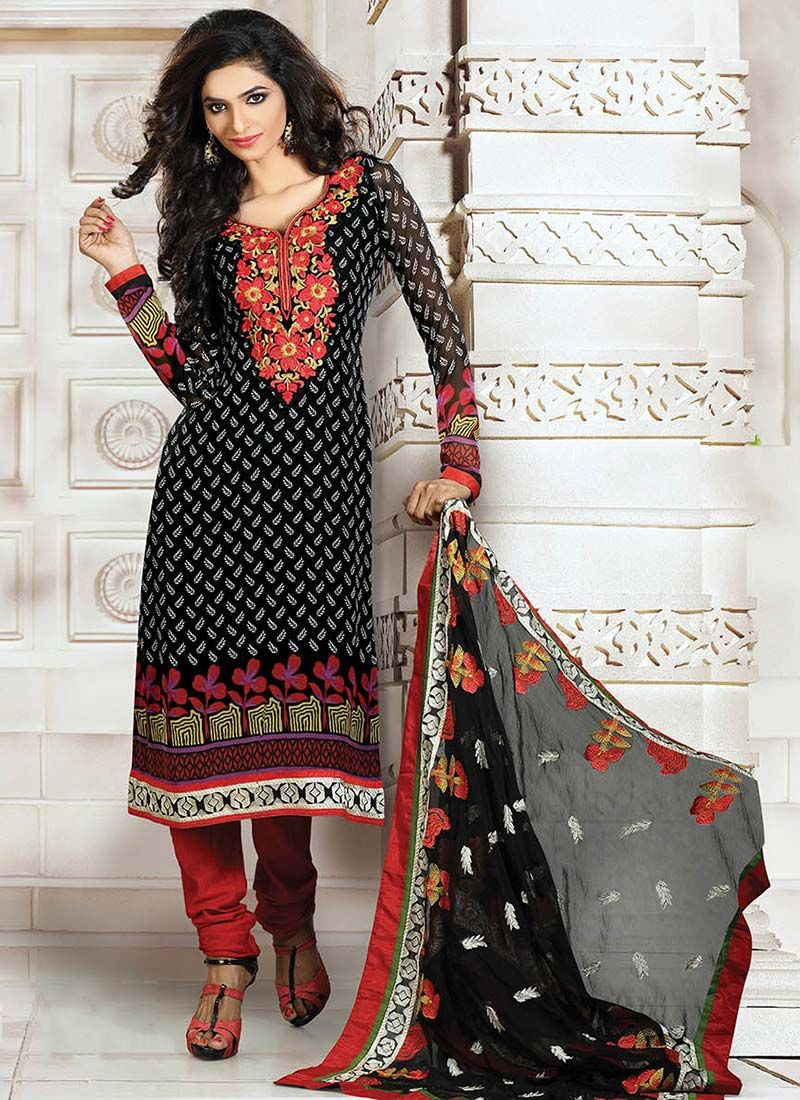 Black Printed Georgette Churidar Suit