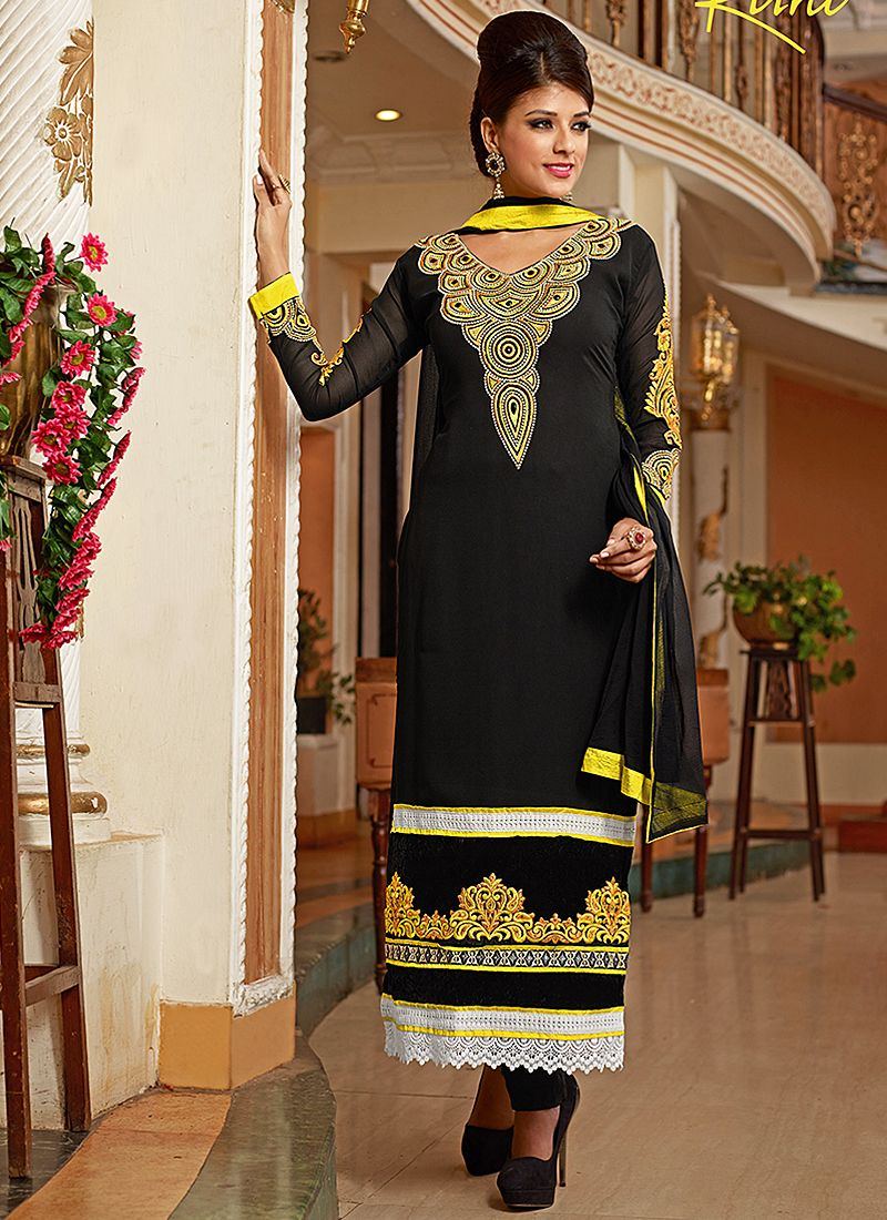 Black Resham Work Georgette Churidar Suit