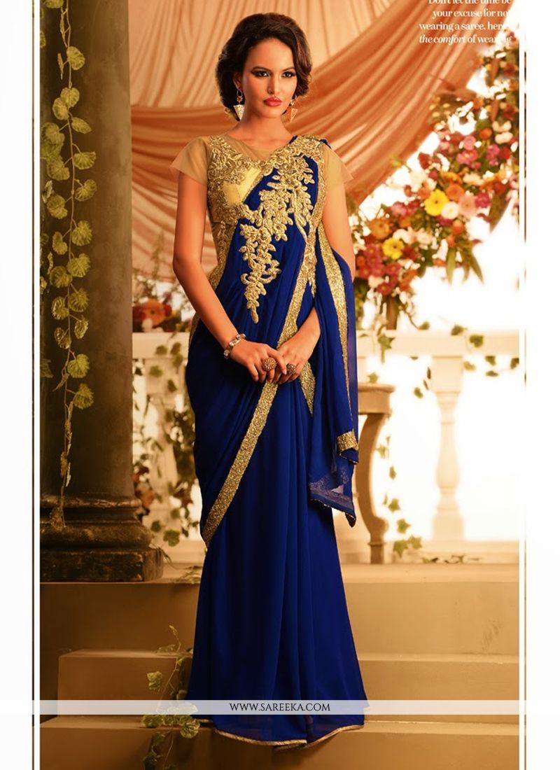 Blue Bamber Georgette Designer Gown