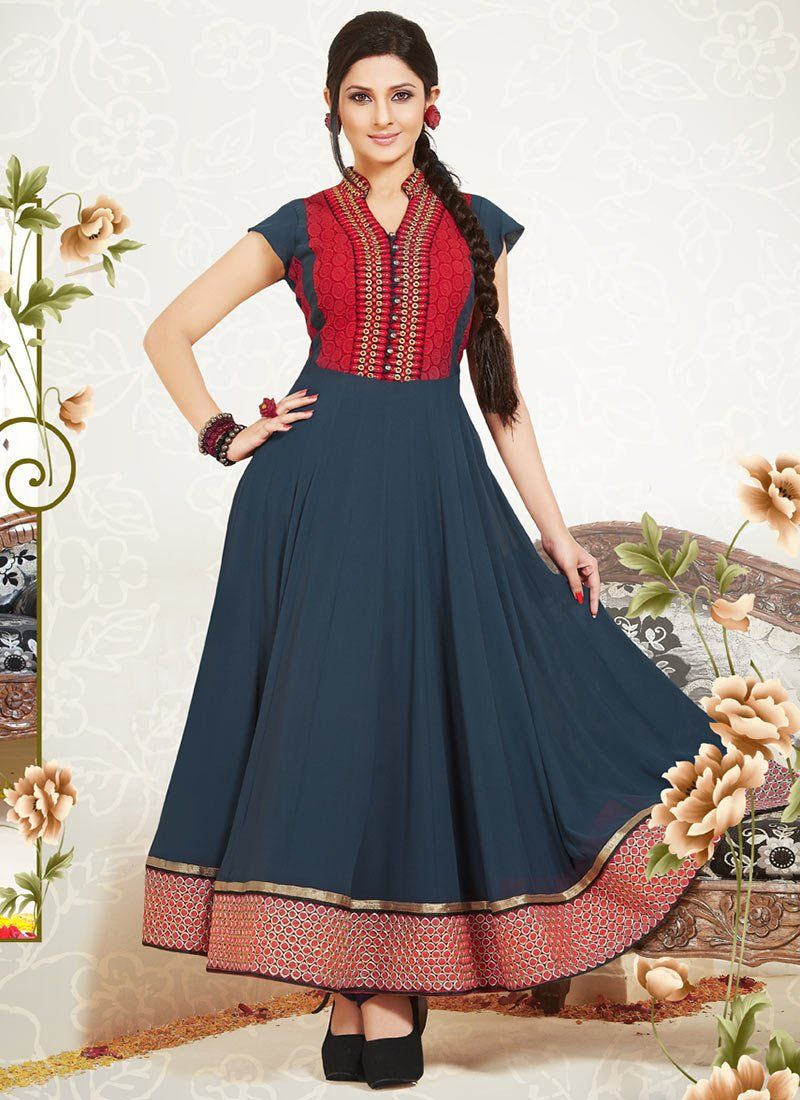 Blue Border Work Ankle Length Anarkali Suit
