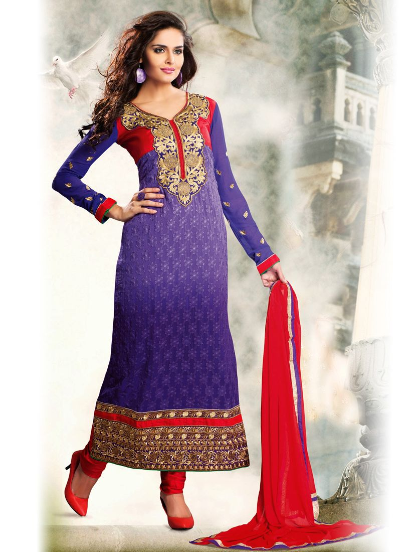 Blue Embroidery Work Anarkali Salwar Suit