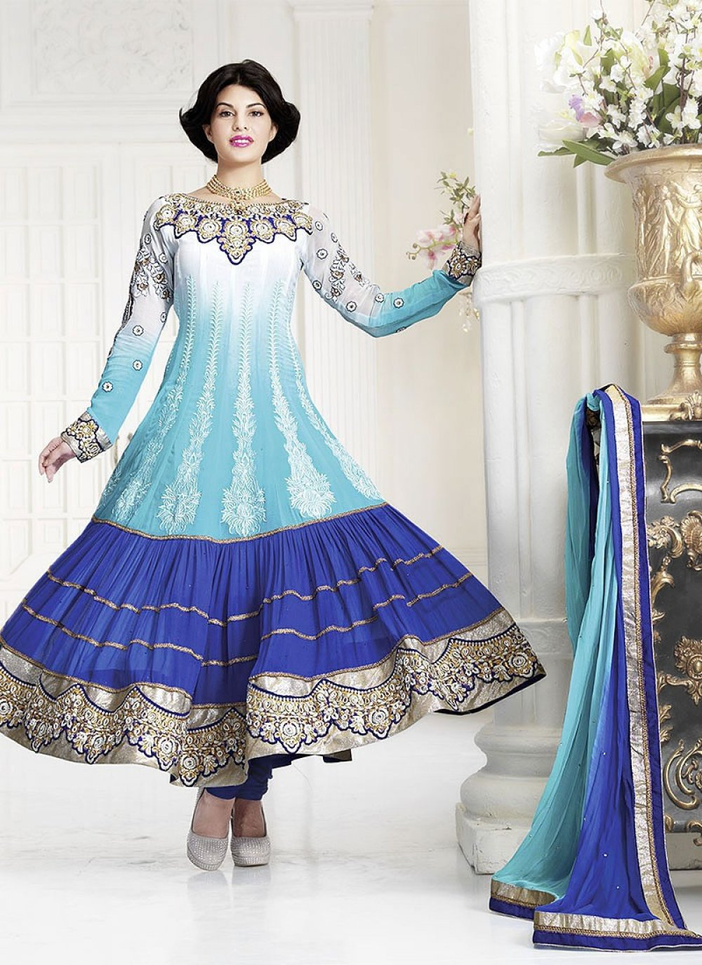Blue Jacqueline Resham Anarkali Suit
