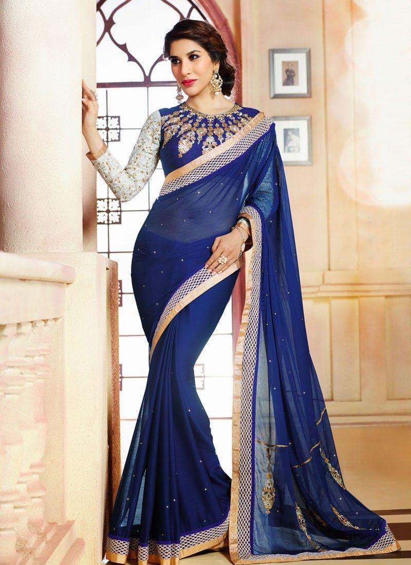 Blue Satin Party Wear Saree