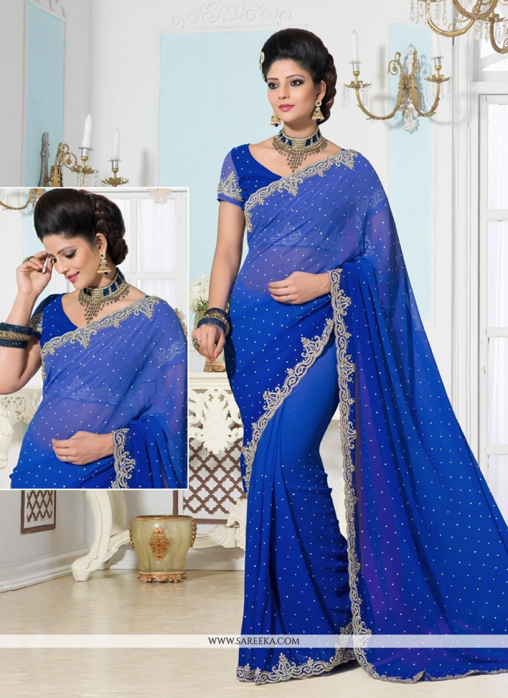 Blue Shaded Designer Saree