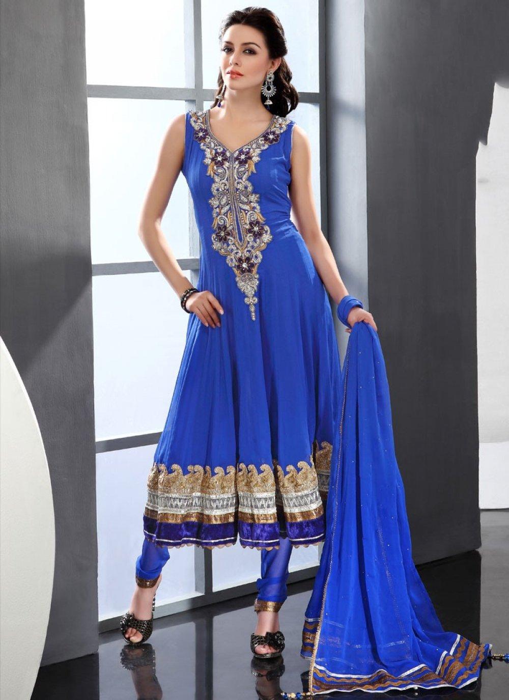 Blue Viscose Churidar Suit
