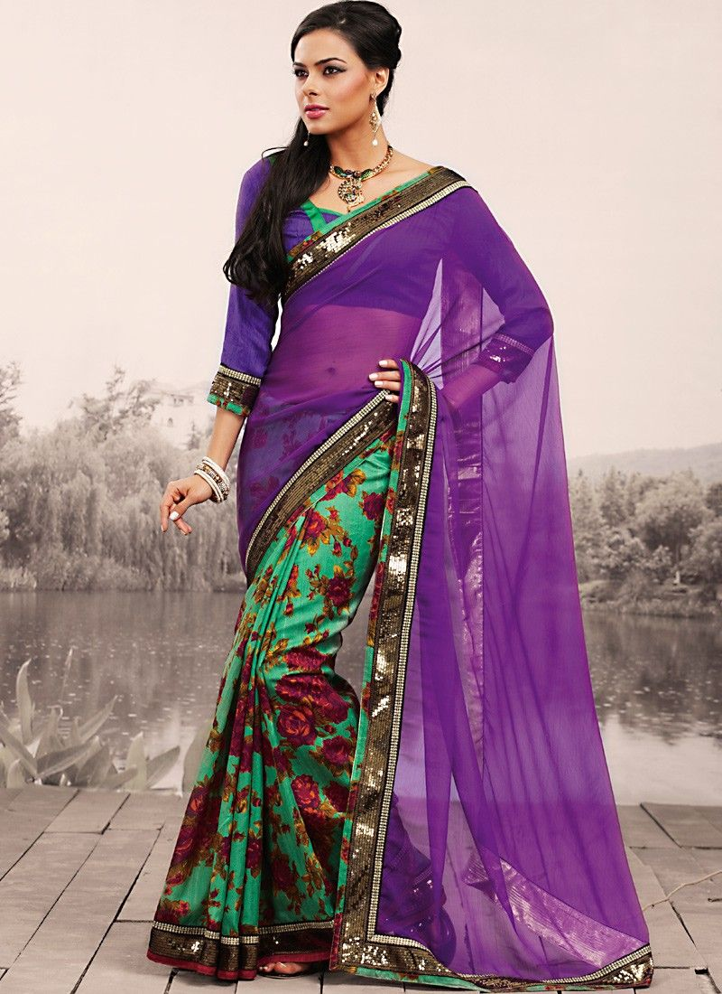 Bluish Purple & Emerald Green Embroidered Saree