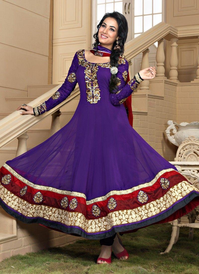 Bluish Purple Salwar Kameez