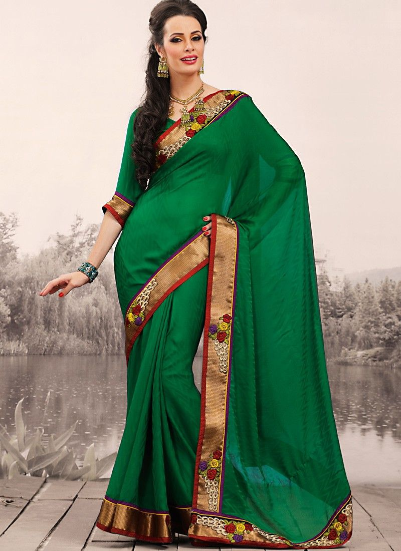 Bottle Green Embroidered Saree
