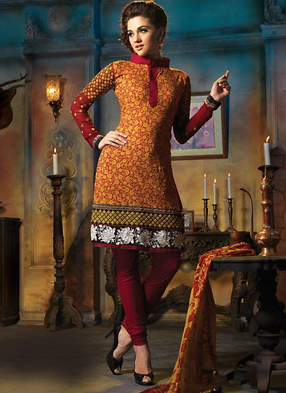 Brick Red & Orange Salwar Kameez