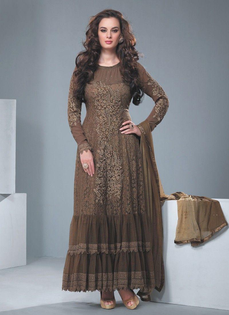 Brown Resham Work Faux Georgette Anarkali Suit
