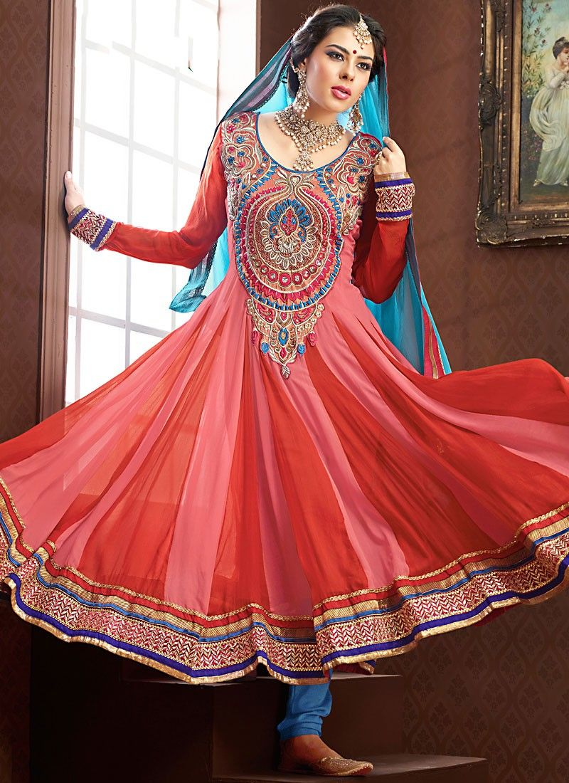 Coral & Rose Pink Anarkali Suit
