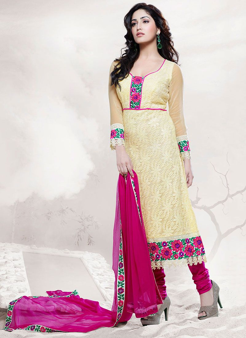 Cream Applique Work Churidar Suit