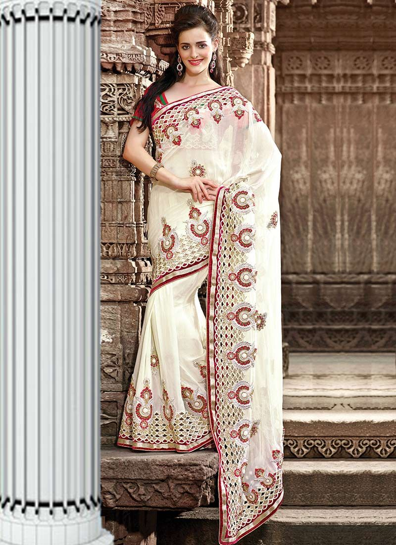 Cream Georgette Wedding Saree