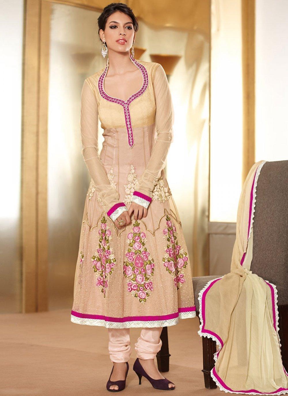 Cream Net Satin Designer Churidar Suit