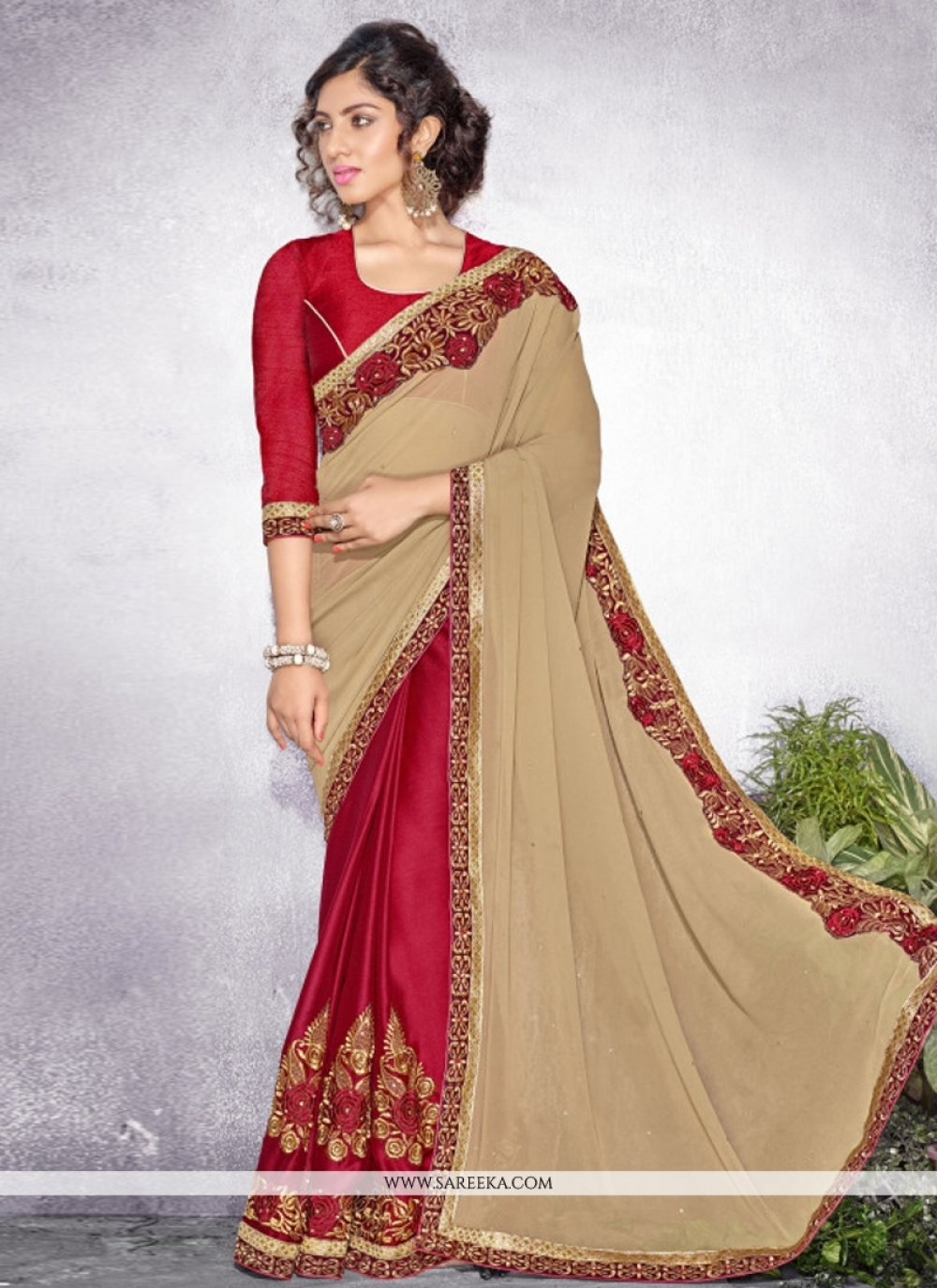 Cream Resham Work Georgette Designer Saree