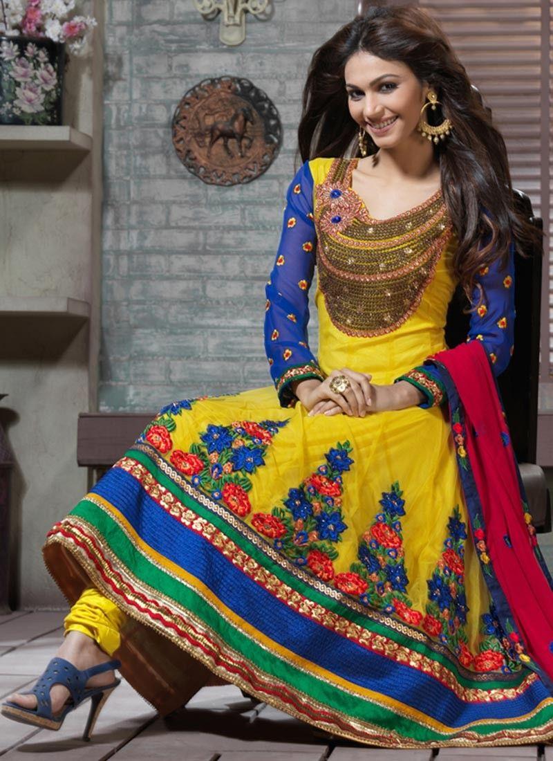 Deep Blue & Gold Color Anarkali Suit