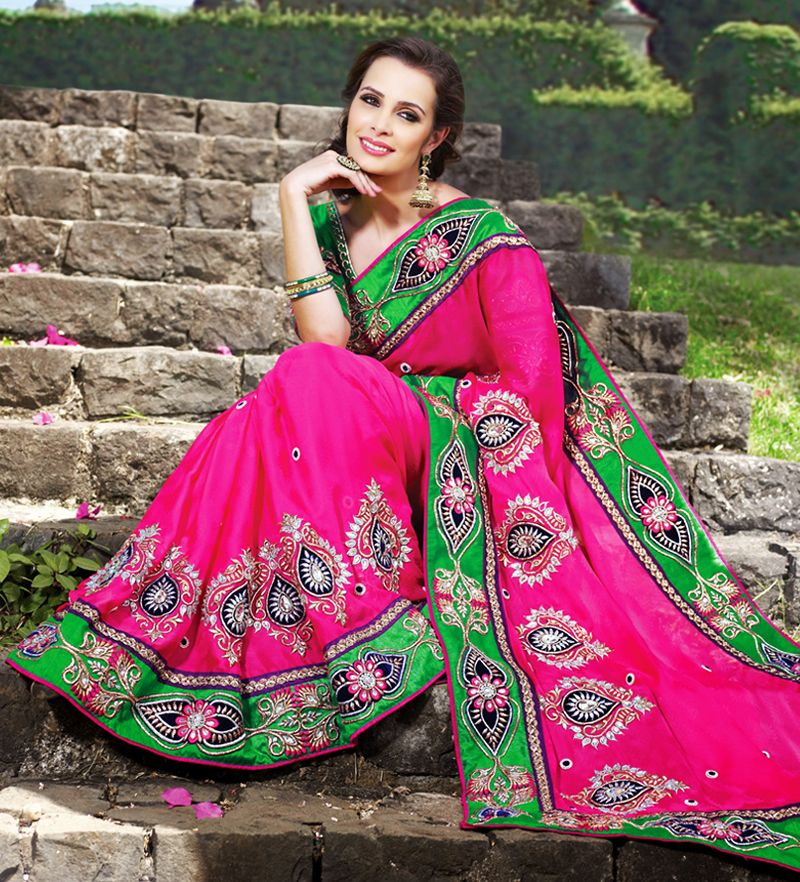 Deep Pink & Lime Green Embroidered Saree