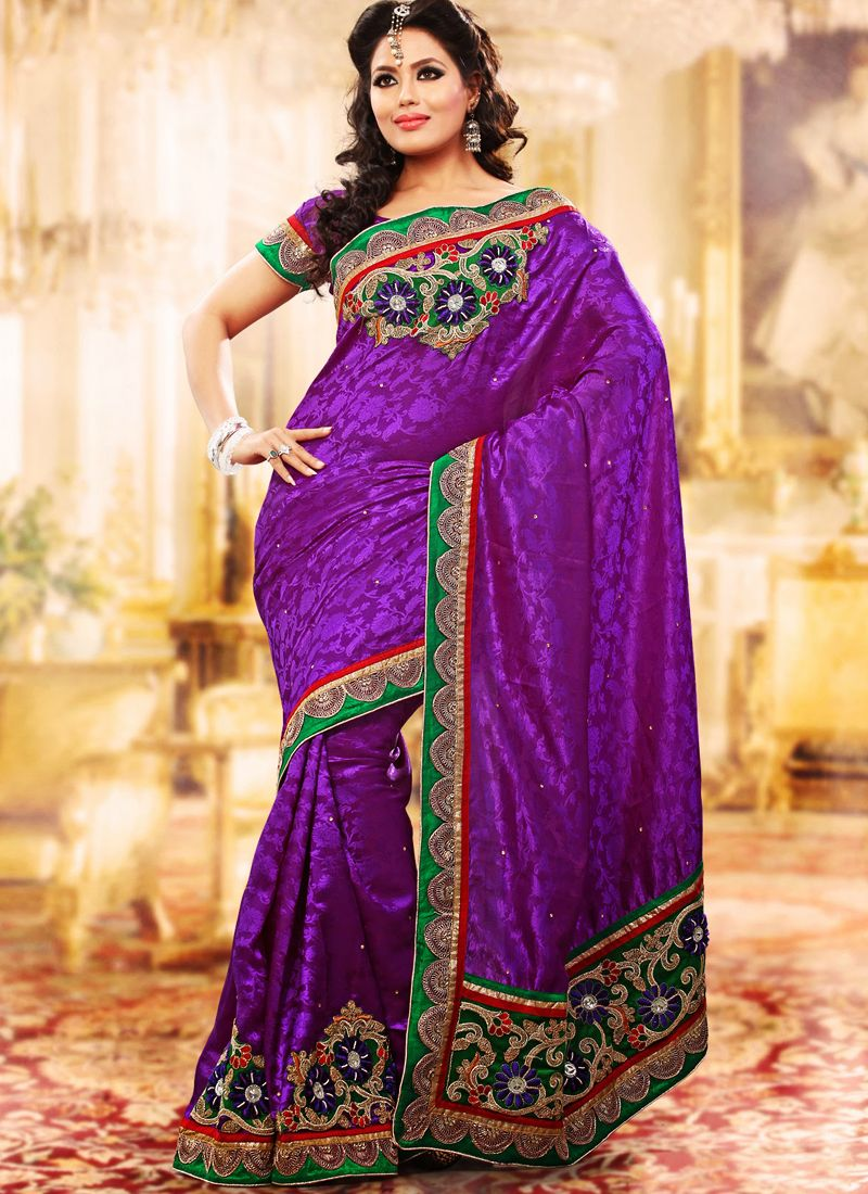 Deep Purple Embroidered Saree