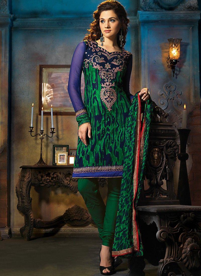Emerald Green & Navy Blue Salwar Kameez