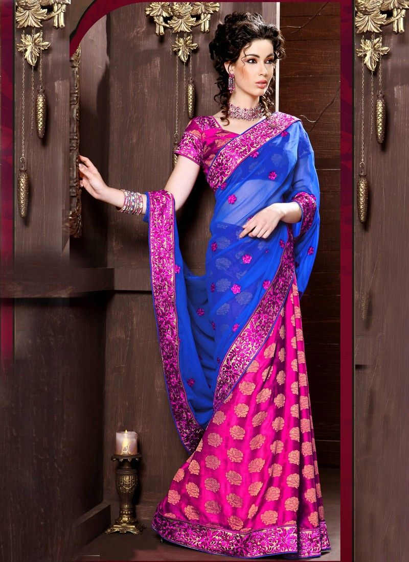 Georgette Resham Work Half And Half Saree