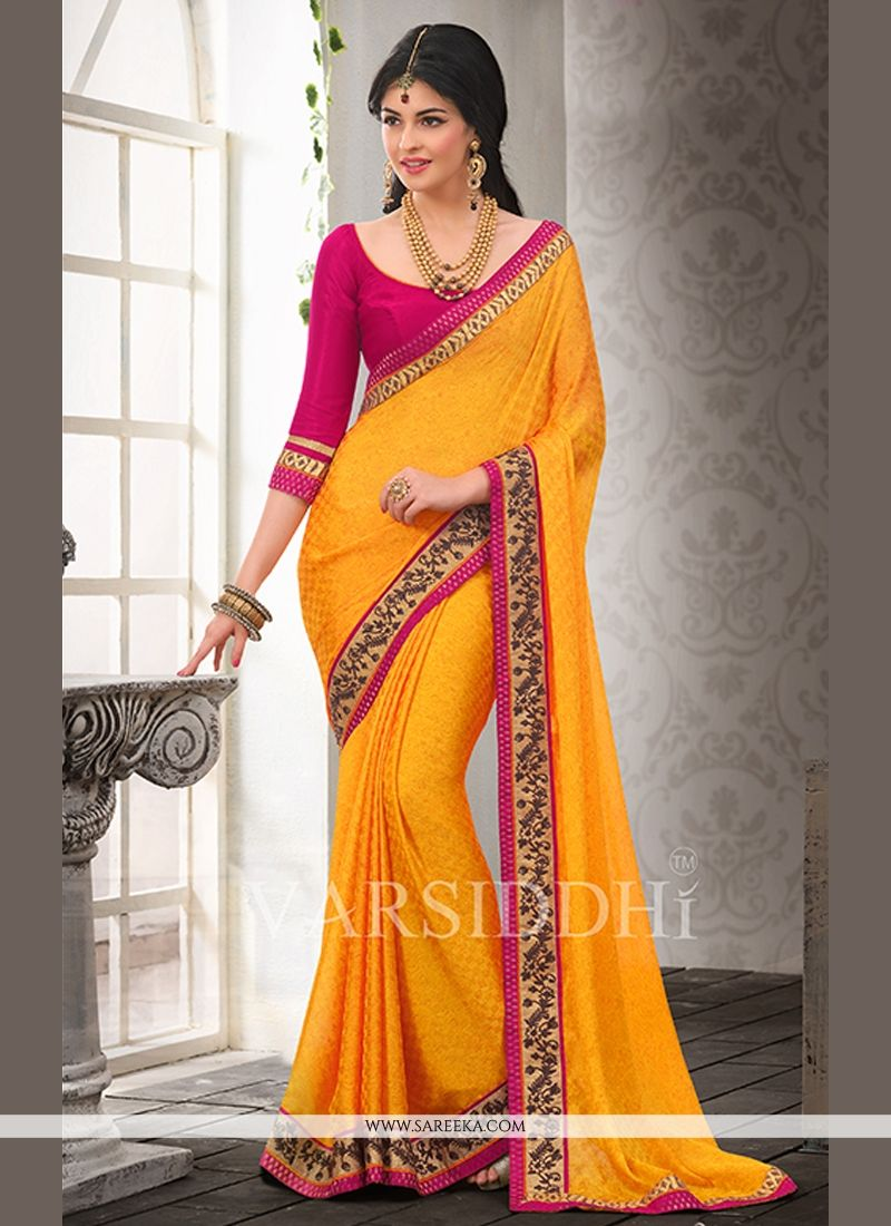 Gold Satin Chiffon Casual Saree