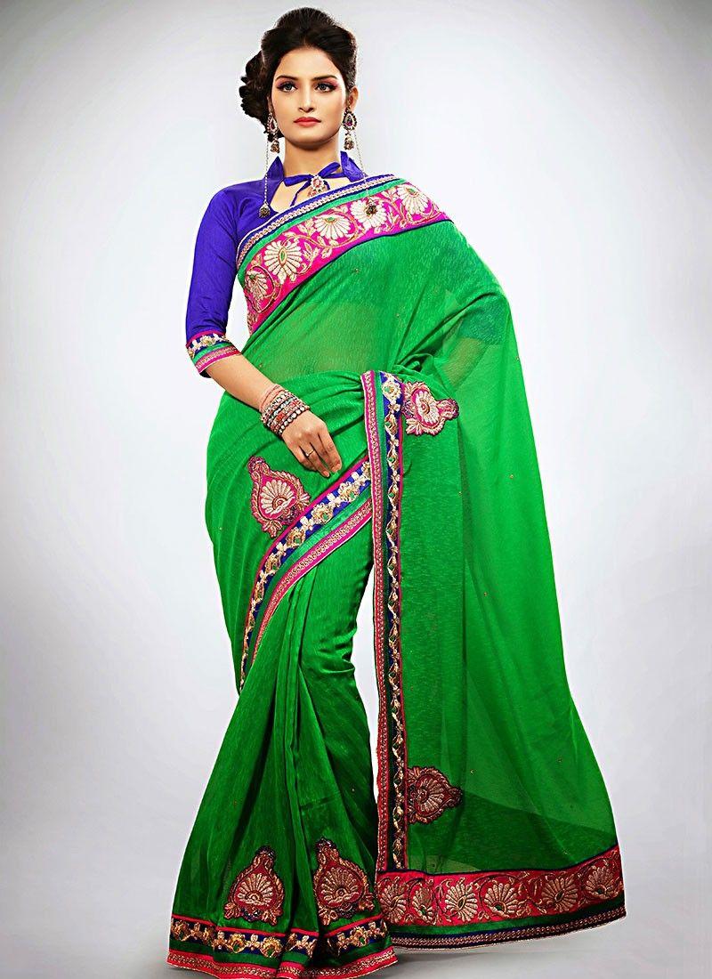 Green Jute Silk Designer Saree