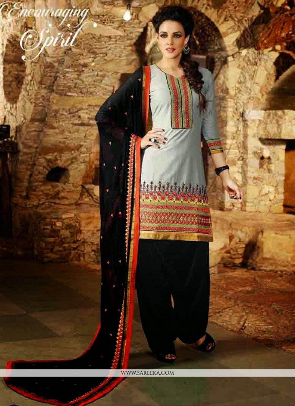 Grey Cotton Punjabi Suit