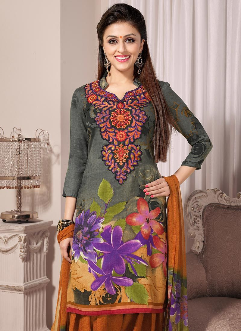 Grey Printed Creap Patiala Suit