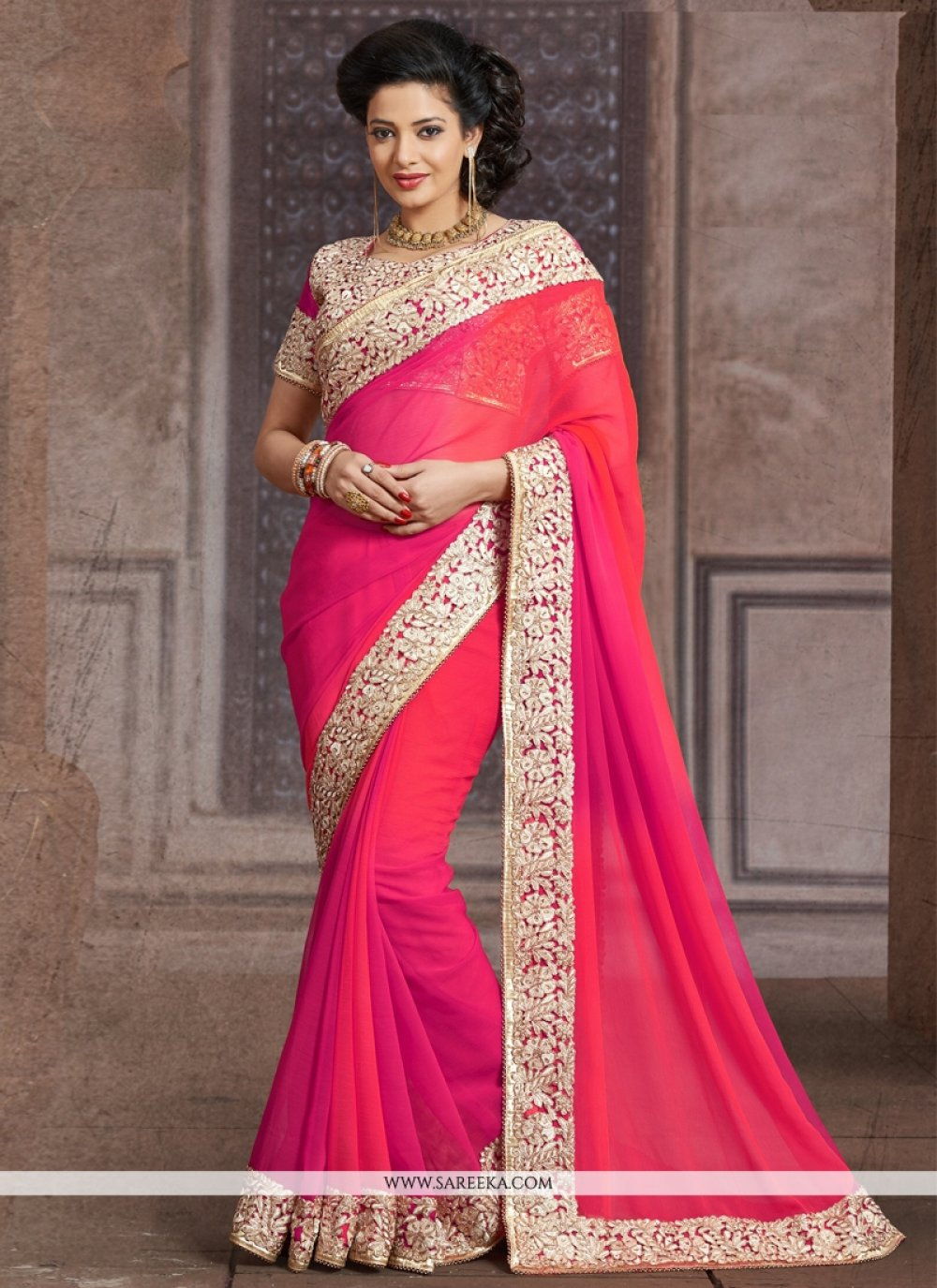 Hot Pink Patch Border Work Faux Chiffon Designer Saree