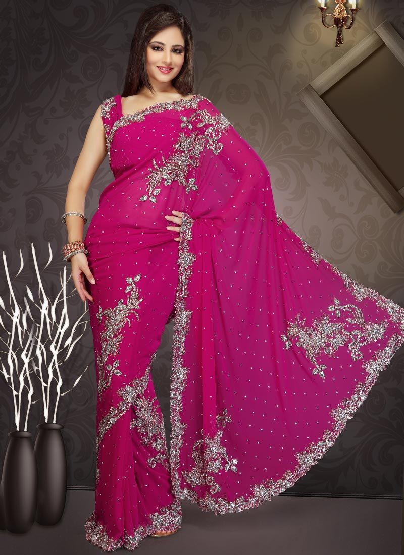 Hot Pink Stones Studded Georgette Saree