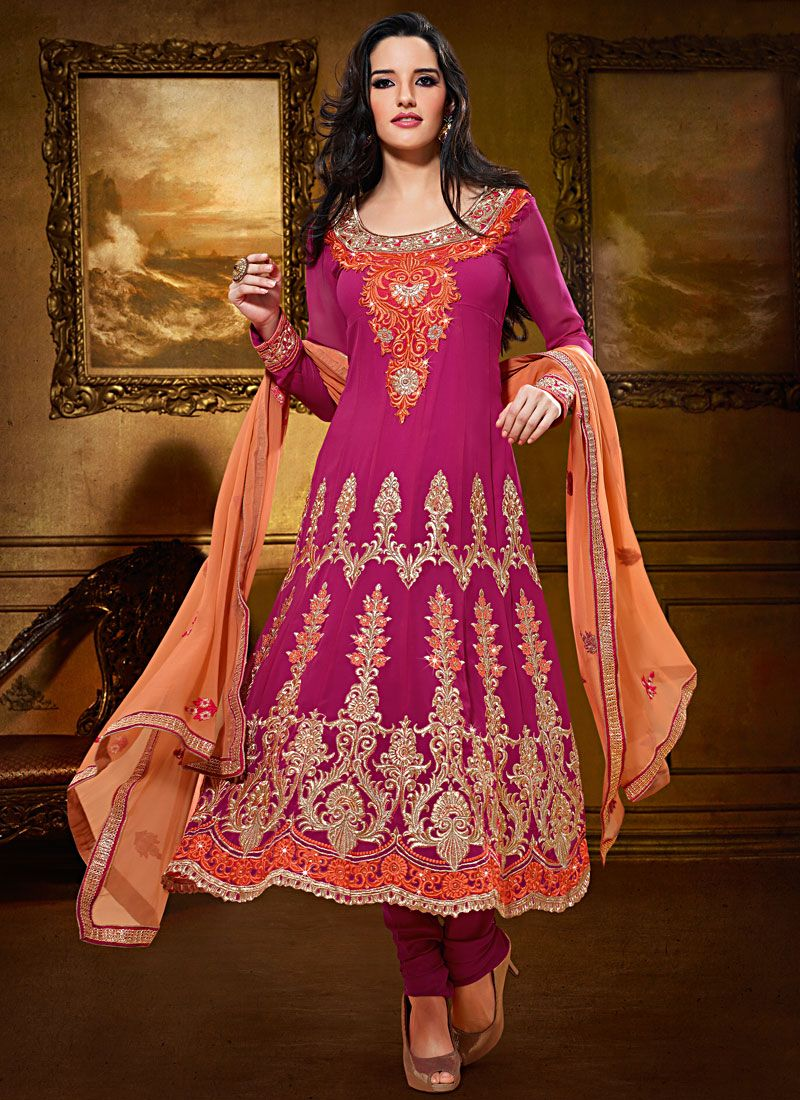 Magenta Viscose Faux Georgette Anarkali Suit