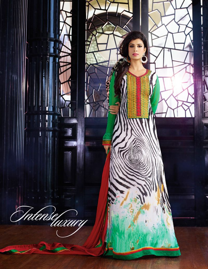 Multicolor Faux Georgette Churidar Suit