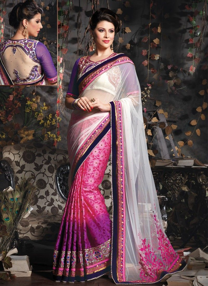 Off White And Pink Beads Work Party Wear Saree