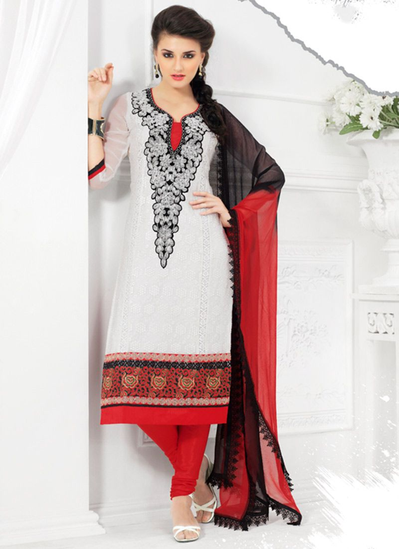 Off White Embroidered Georgette Churidar Suit