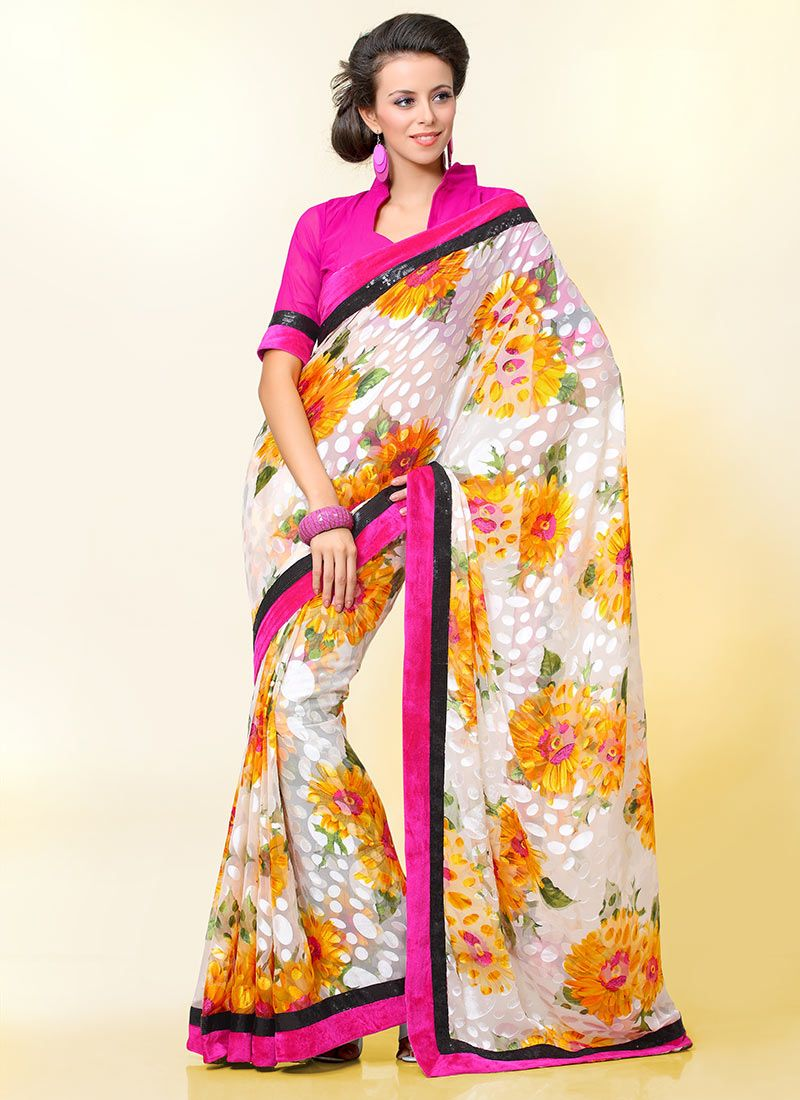 Off White Printed Brasso Saree