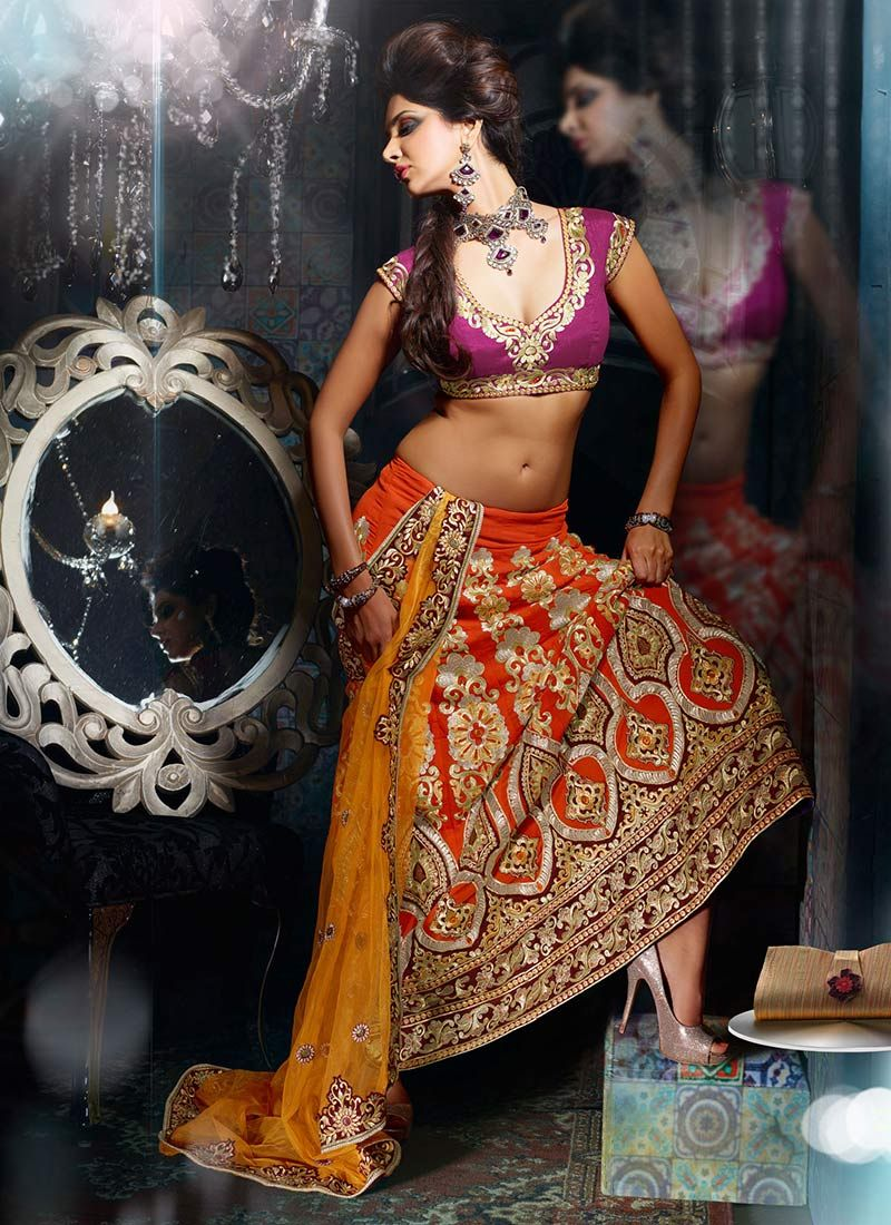 Orange And Golden Yellow Lehenga Saree
