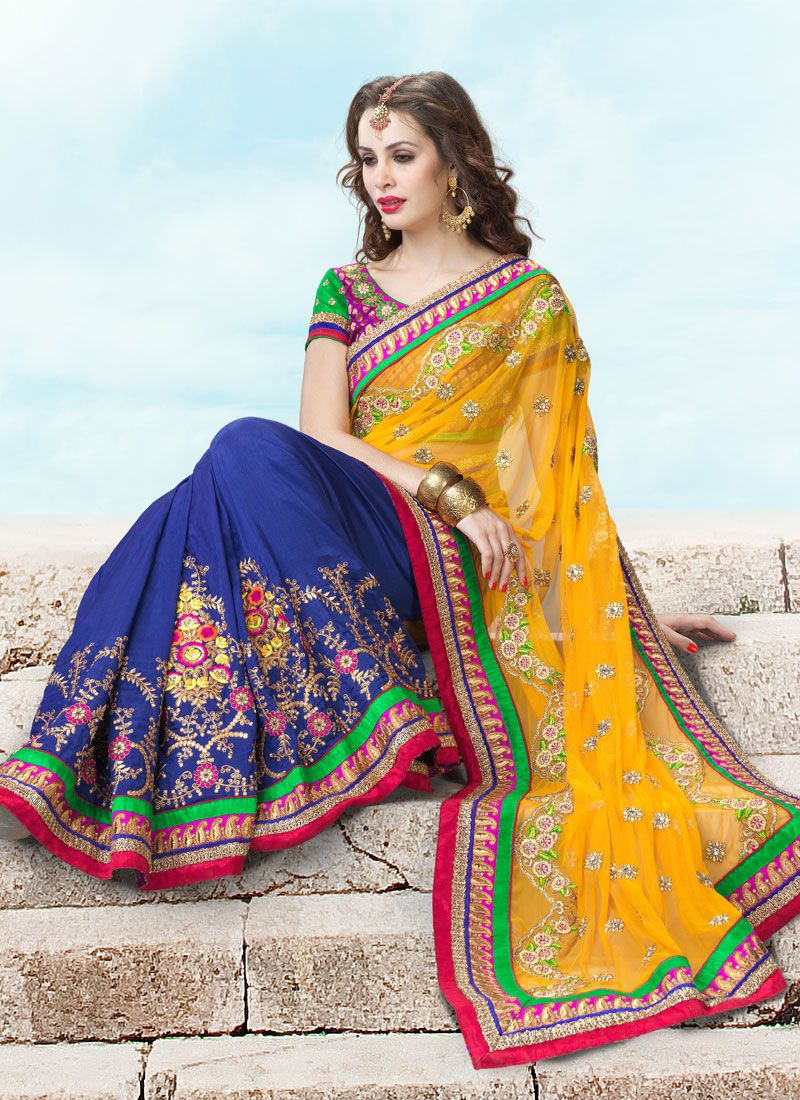 80d5fee6c3 Orange Net Silk Wedding Saree -