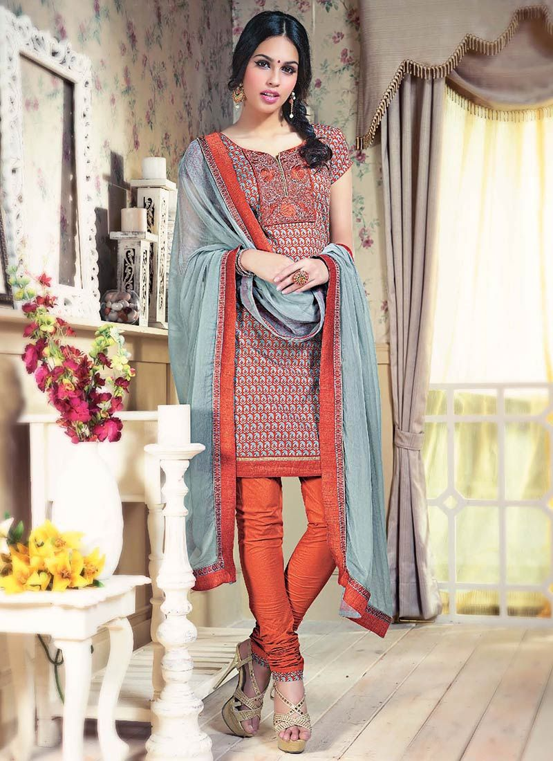 Orange Printed Cotton Churidar Suit