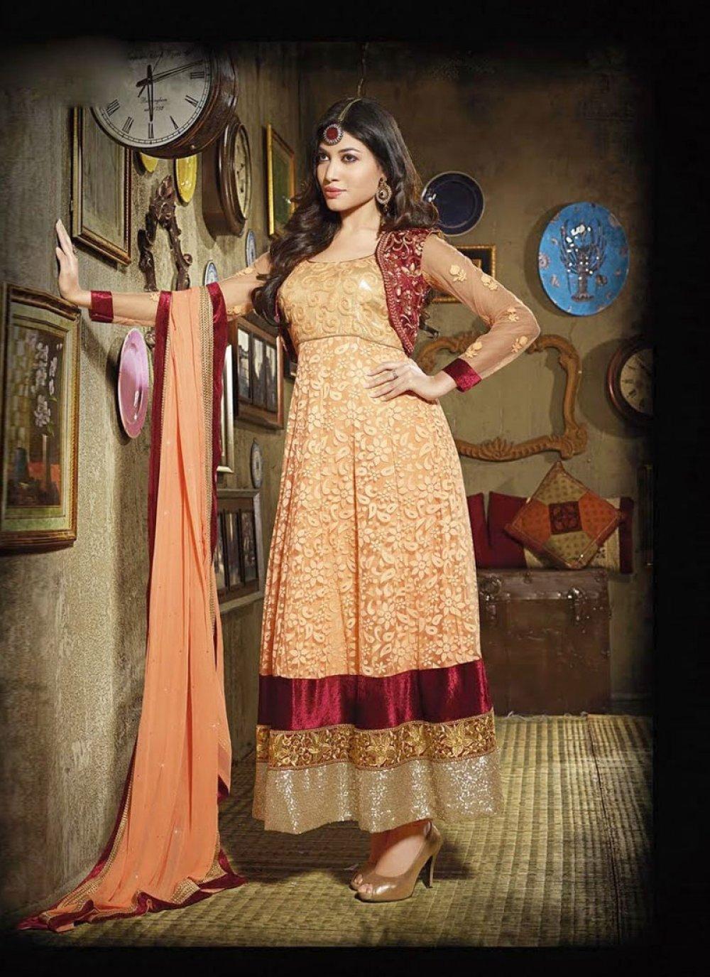 Orange Resham Work Chiffon Anarkali Salwar Suit