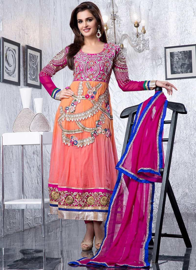 Peach Georgette Ankle Length Anarkali Suit