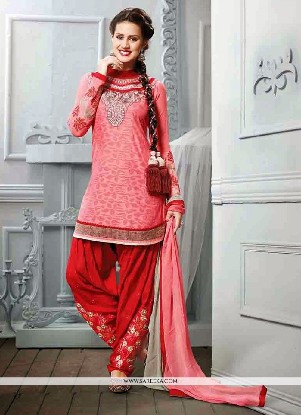 Pink Cotton Jacquard Punjabi Suit