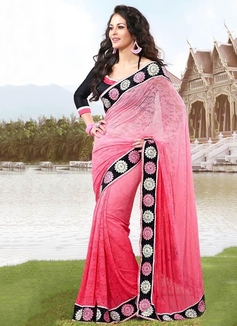 Pink Net Saree: Pink Net Saree