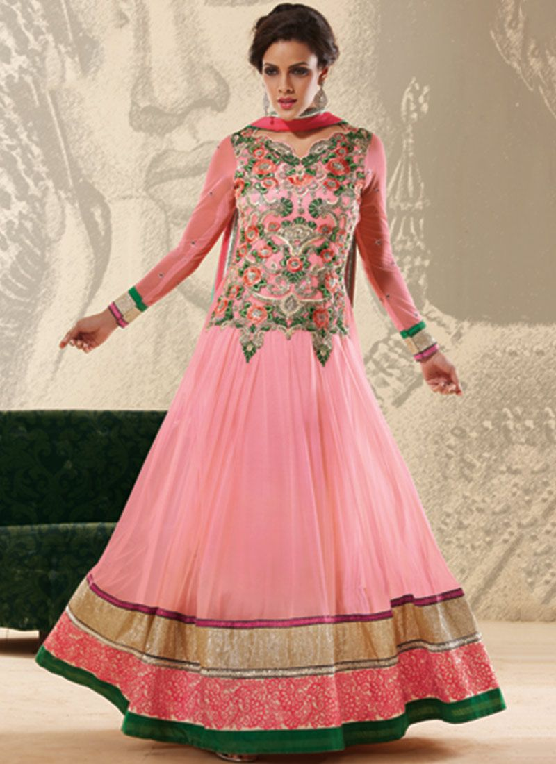 Pink Resham Work Anarkali Suit