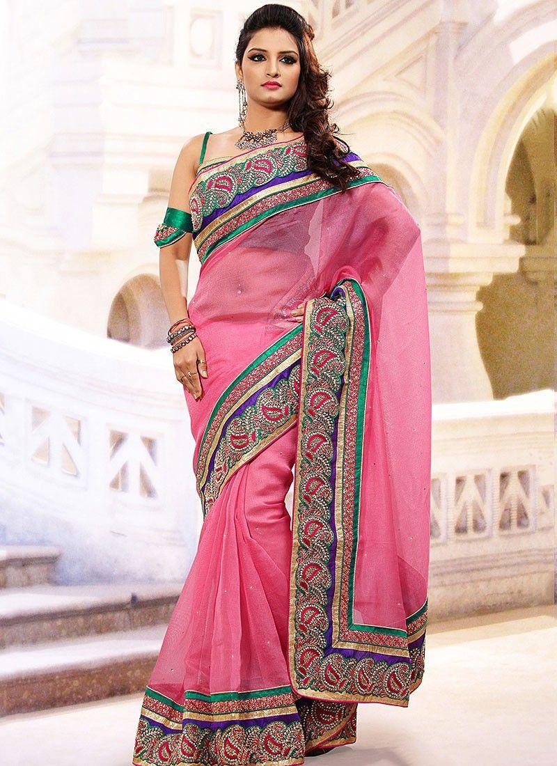 Pink Silk Organza Saree