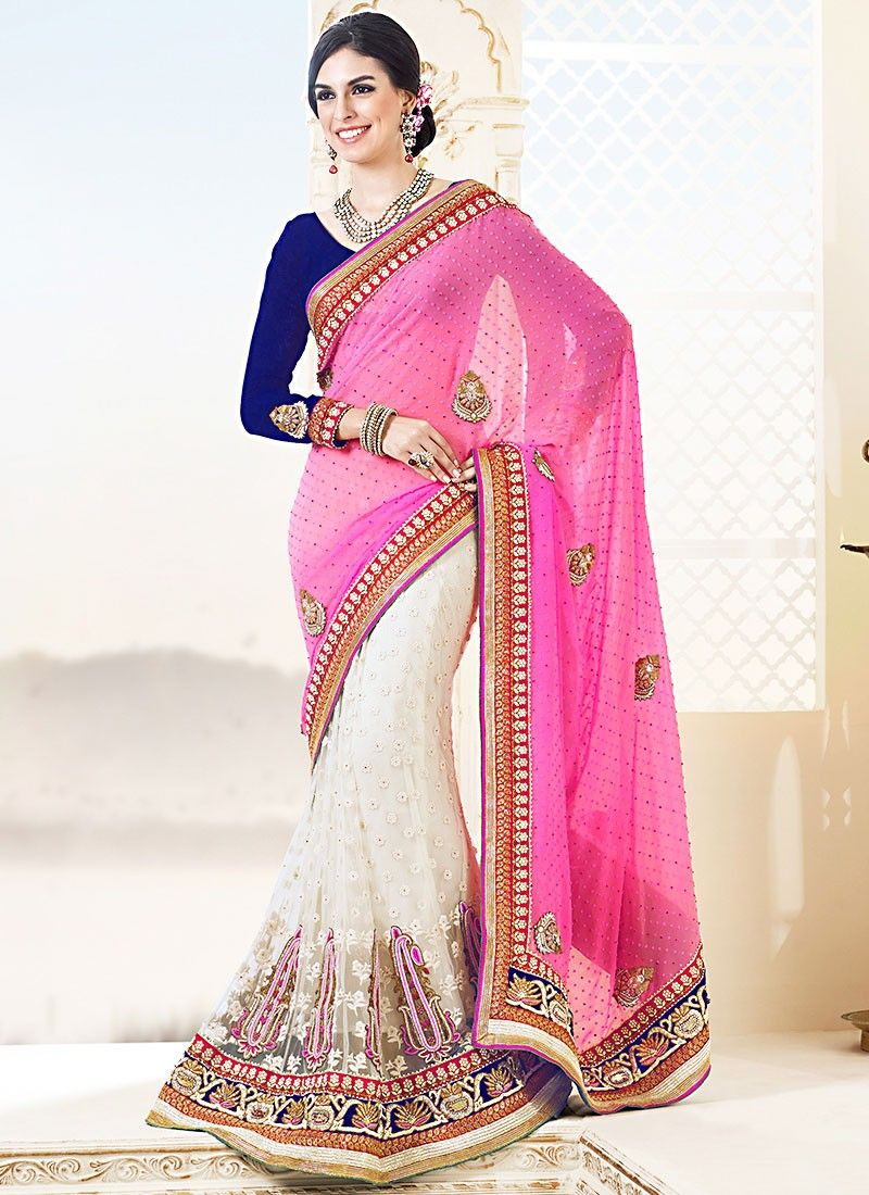 Pink Viscose Half And Half Net Saree