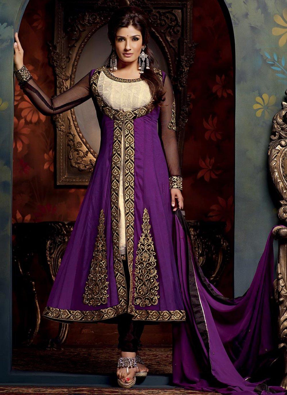 Purple Faux Georgette Churidar Suit
