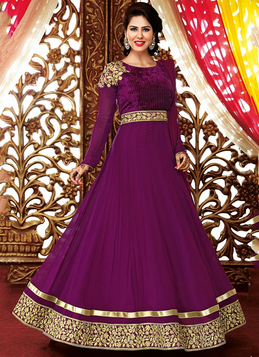 Purple Resham Work Georgette Anarkali Suit
