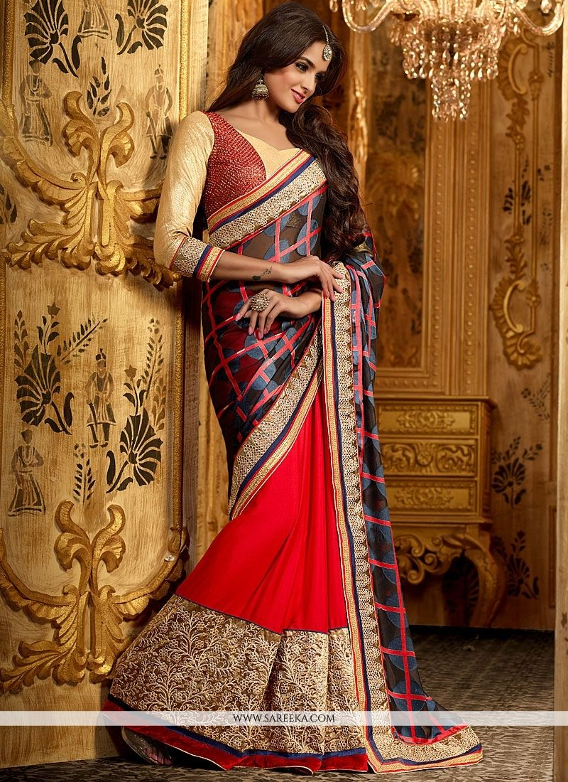 Red And Black Georgette Saree