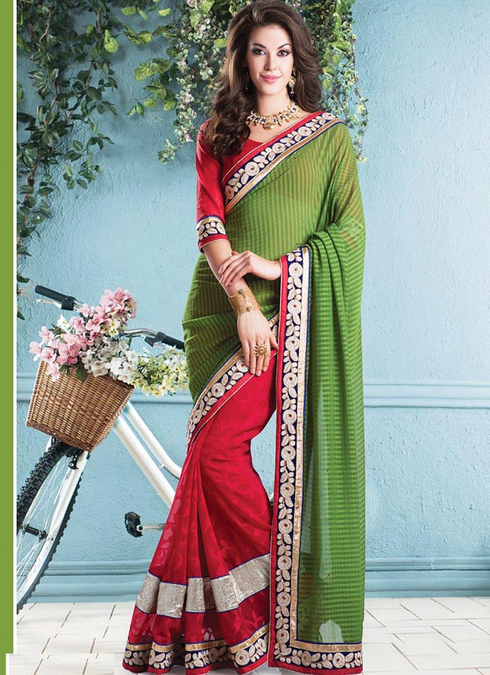 Red And Green Faux Chiffon Saree
